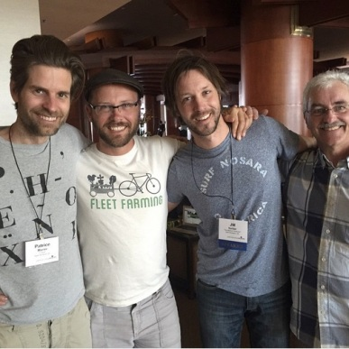 Fabrice, Curtis Stone, Jean-Martin Fortier and Stefan Sobkowiak at the Permaculture Voices Conference.